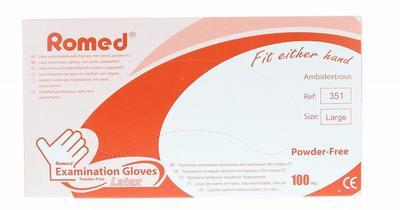 Romed Latex Handschoen Natural Spray Poedervrij L 100stuks