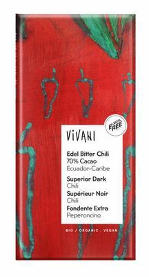 Vivani Chocolade puur chili peper 100g