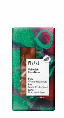 Vivani Chocolade melk hele hazelnoten 100g