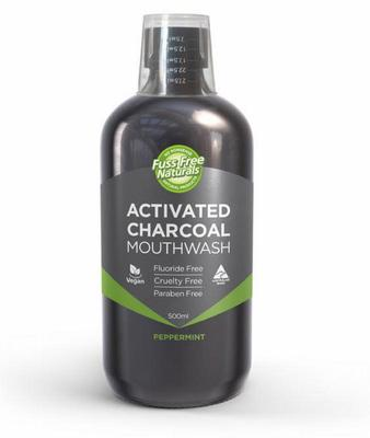 Fuss Free Nat Mondwater arctic charcoal peppermint 500 ml